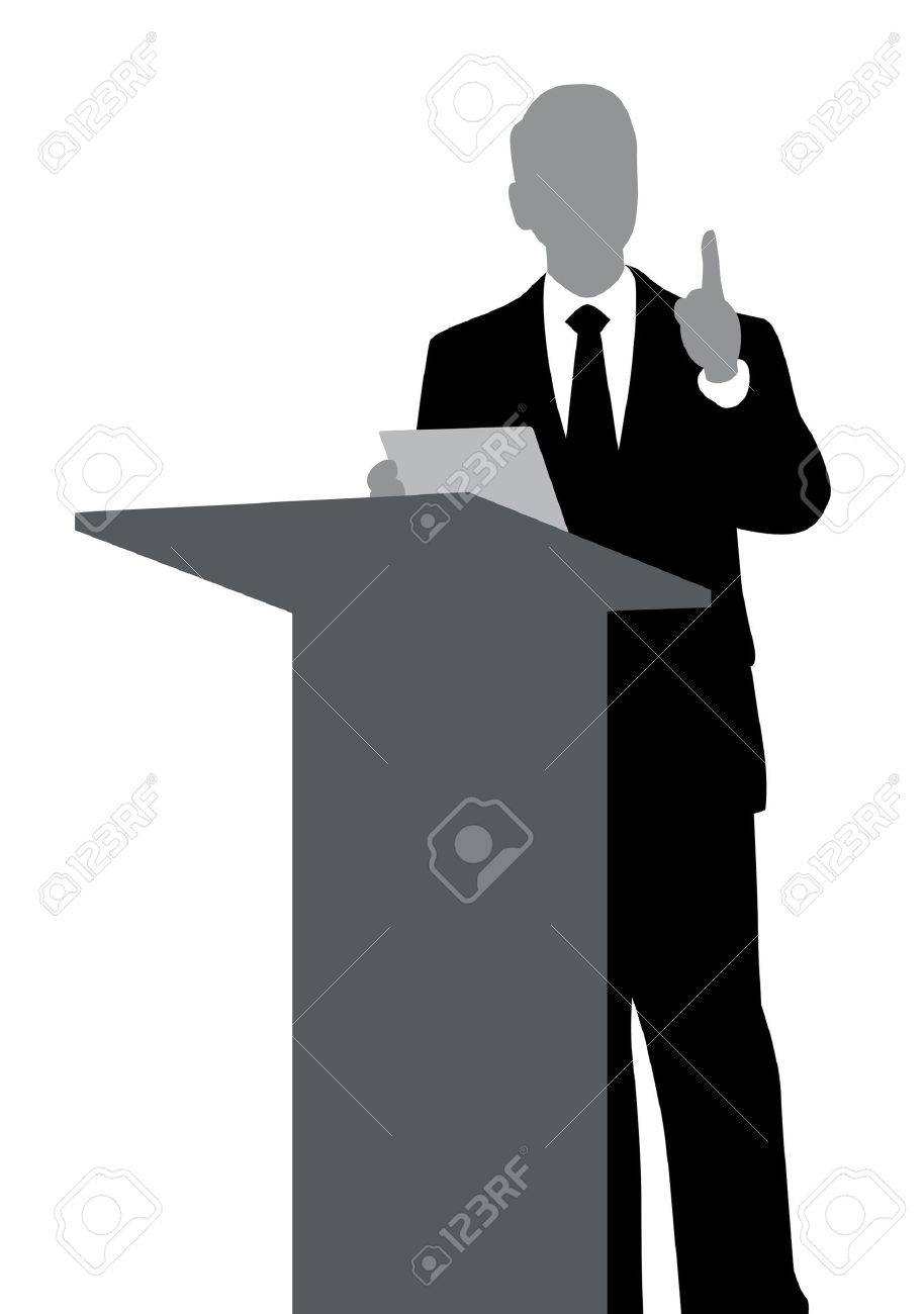 Abstract of speaker with podium - 17816641