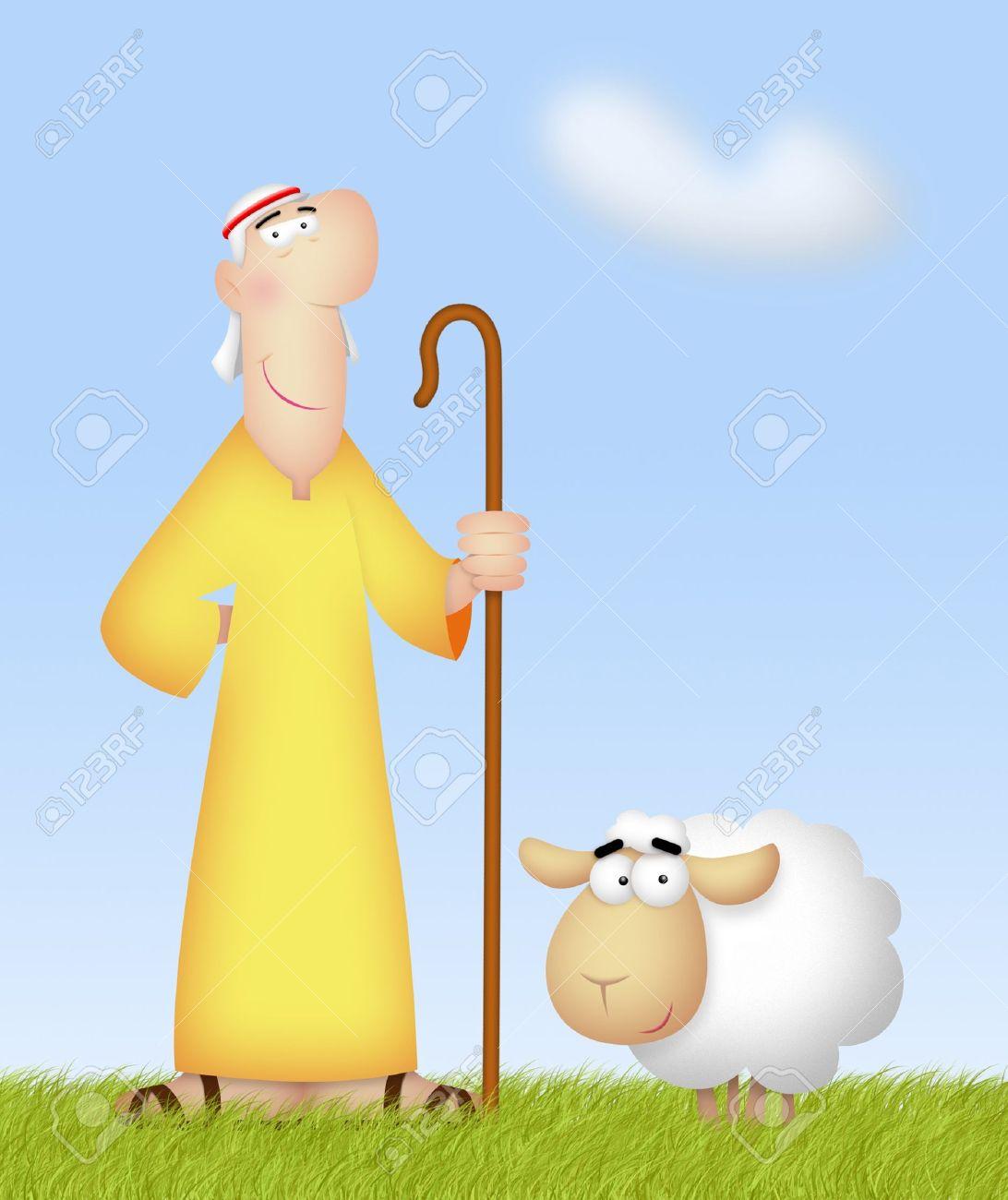 Shepherd with his cute sheep. - 20323400