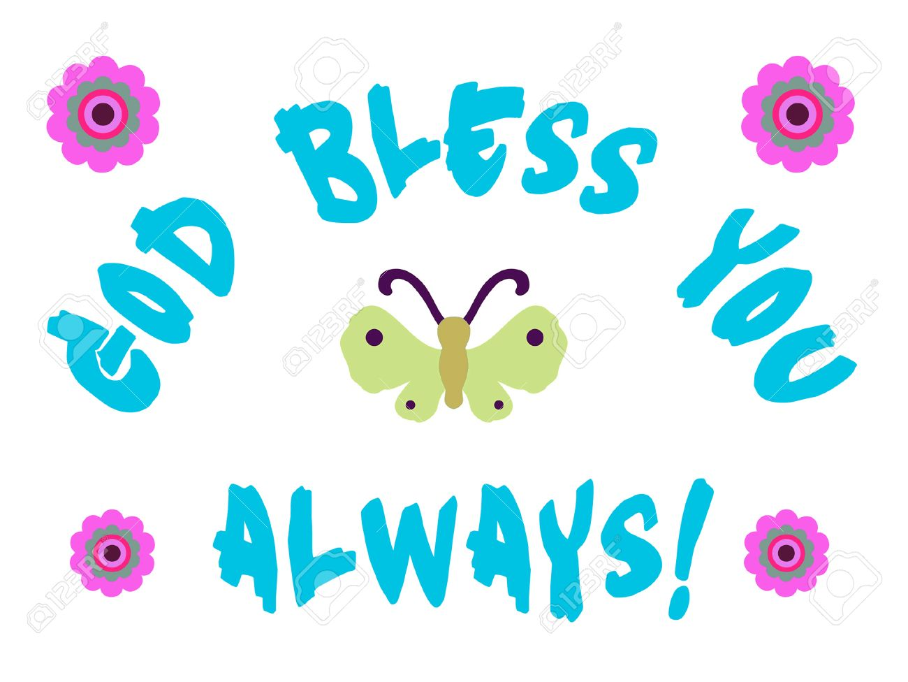 God Bless You Sign With Butterfly And Flowers Stock Photo Picture