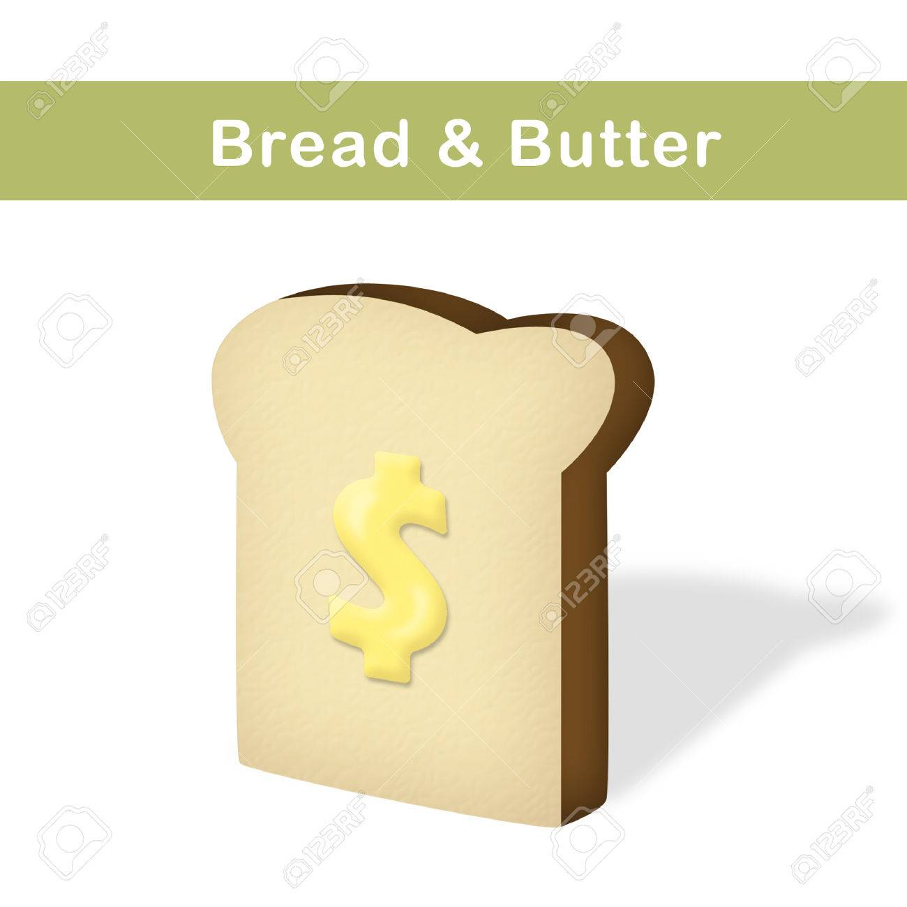 Slice of bread with butter shaped as dollar sign. - 43086849