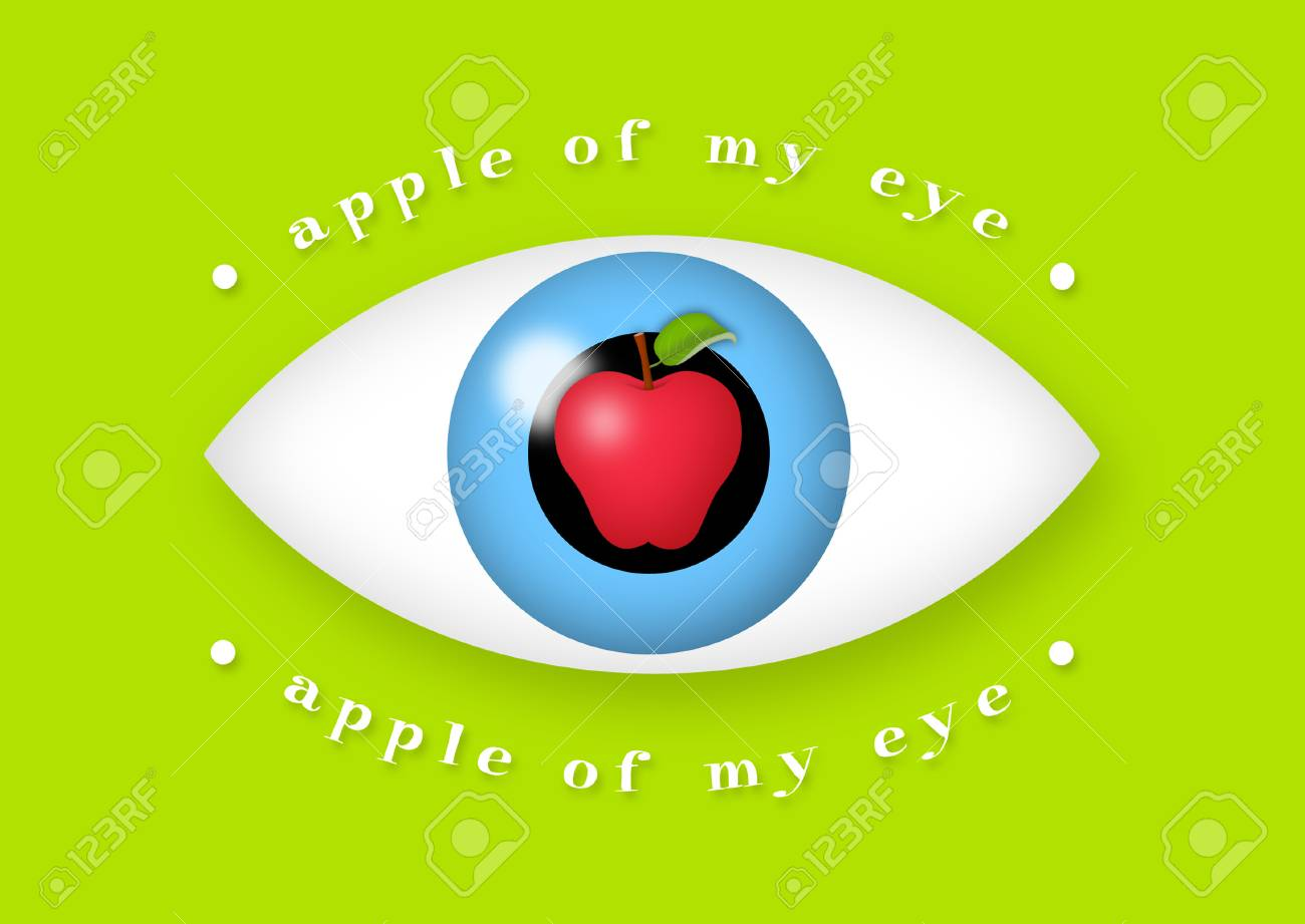 Apple in the middle of eye. - 43691673