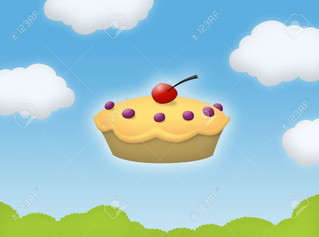 Pie floating in the sky with clouds. - 44494485
