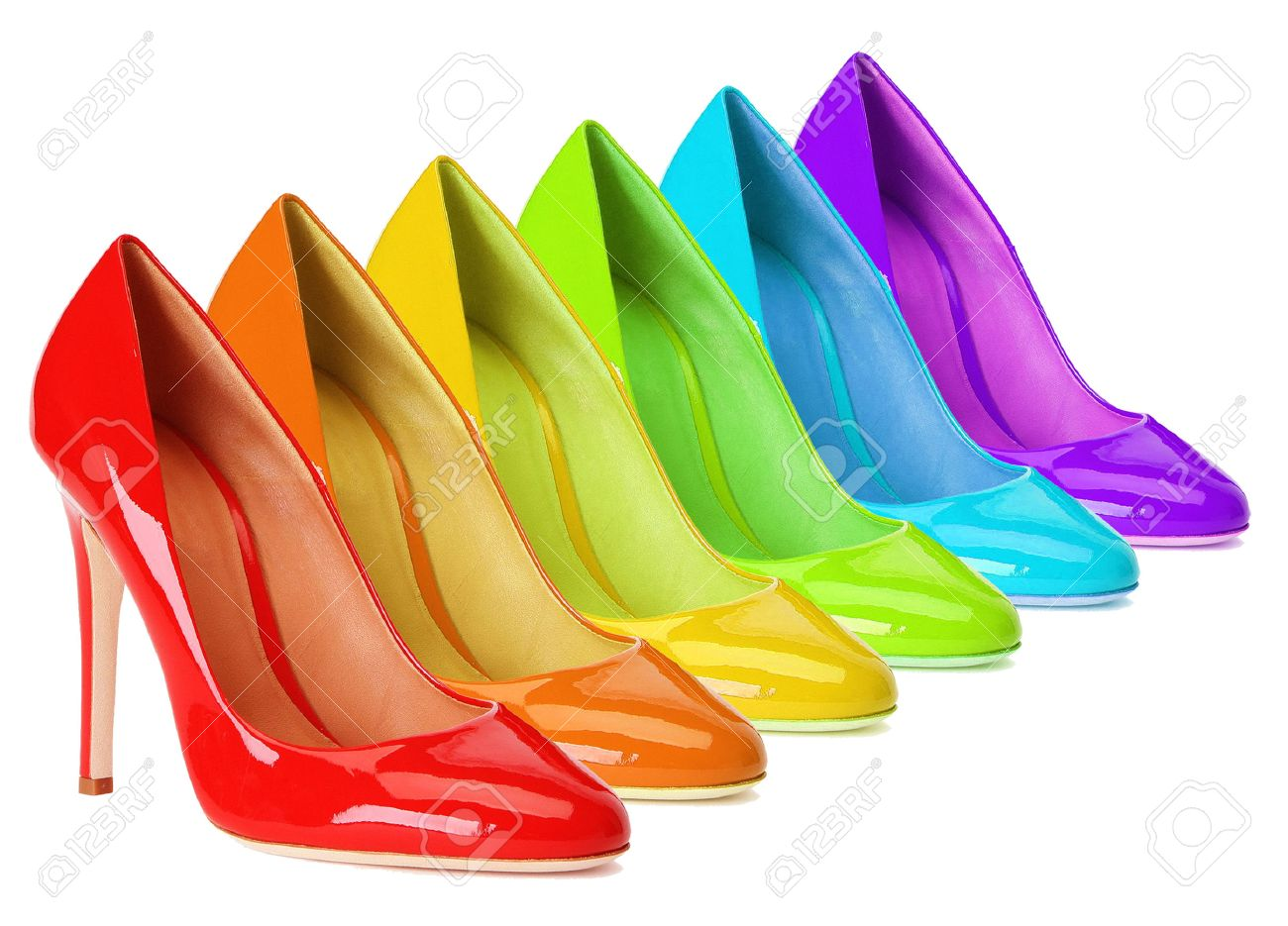 5b5cbcff0ee3 High Heel Shoes In Rainbow Colors. Stock Photo, Picture And Royalty ...