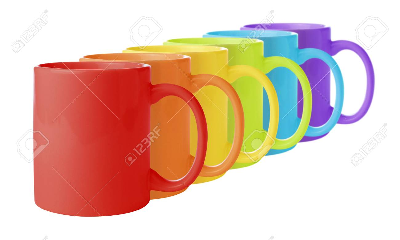 Line of mugs in rainbow colors. - 48188482