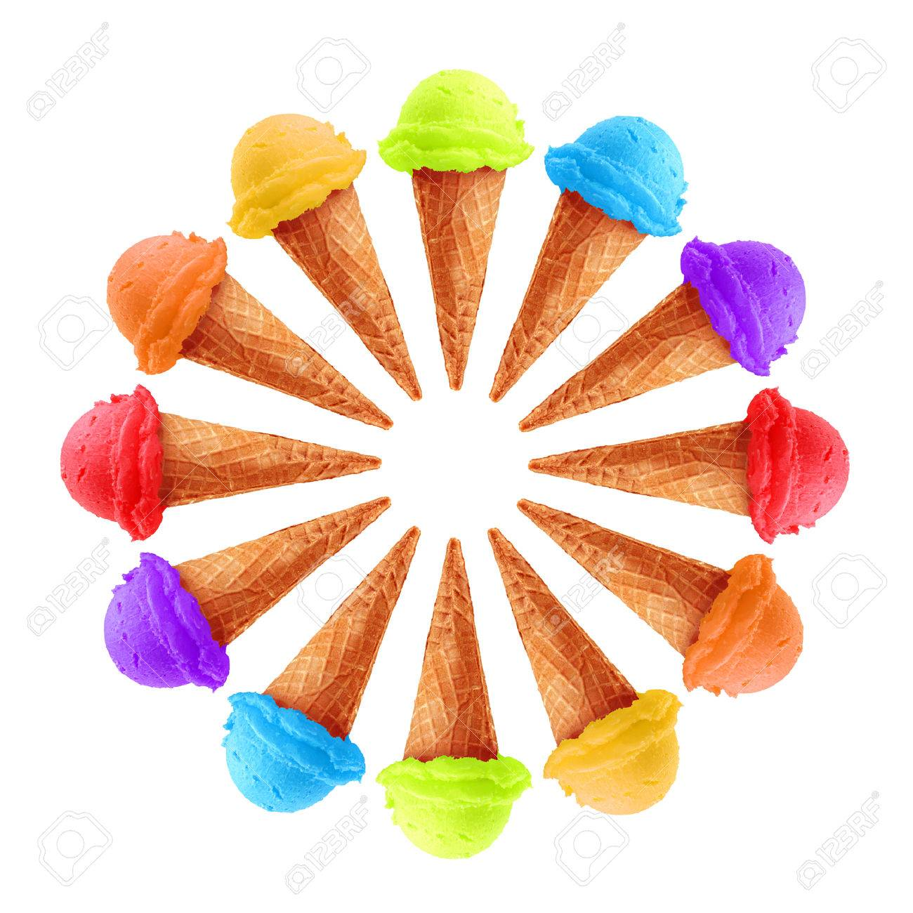 Circle of ice cream in rainbow colors. - 51338982