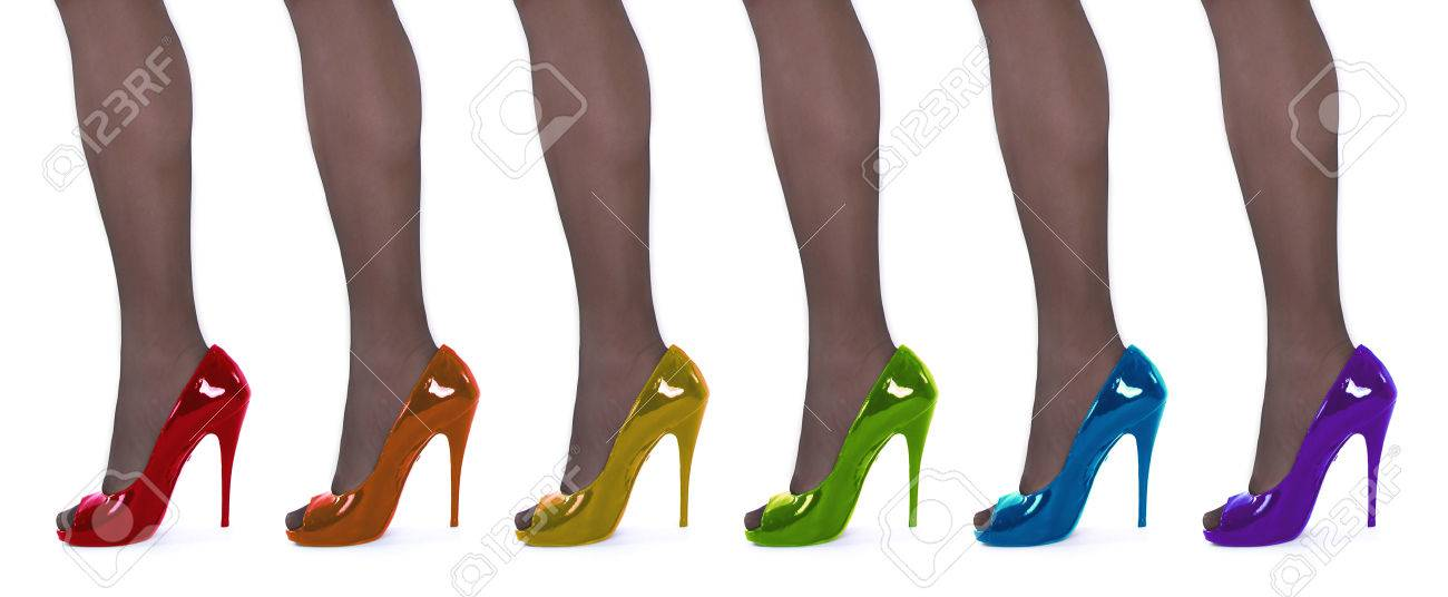 High heel shoes in rainbow colors. - 77310742