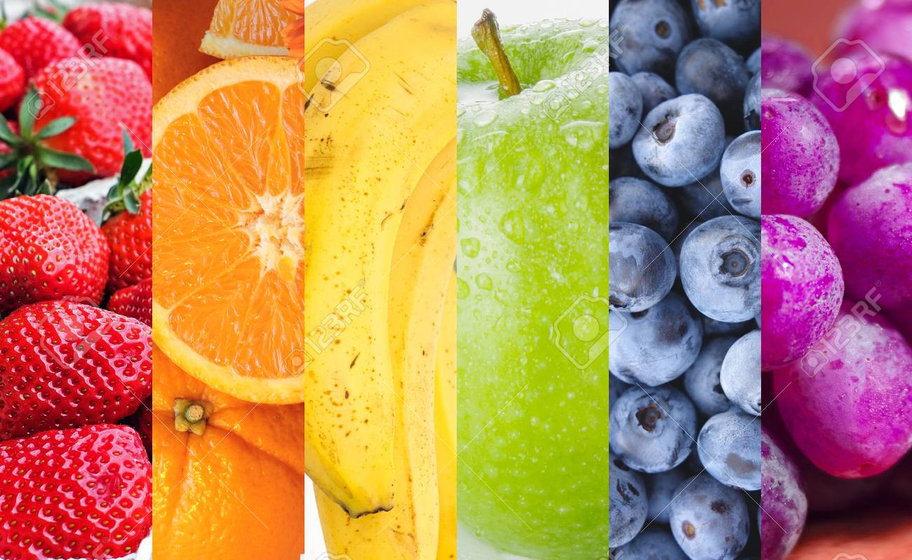 Different fruits in rainbow colors. - 77389279