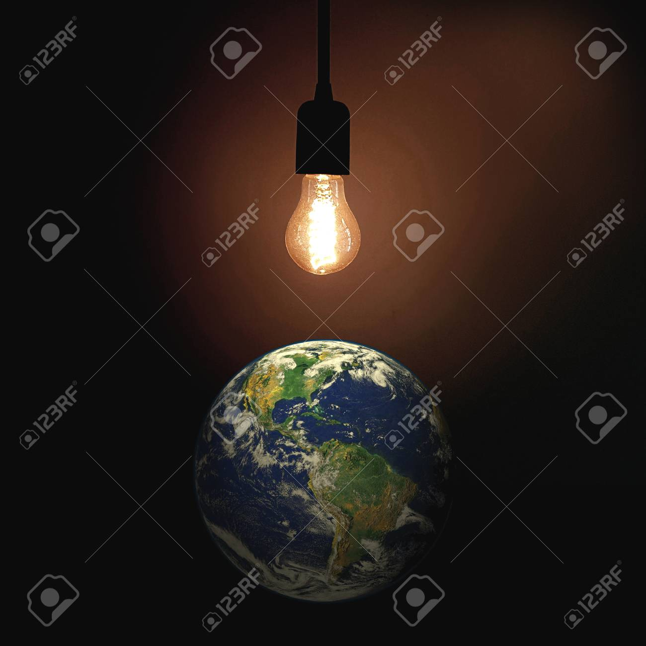 Light of the World sign with lightbulb and globe. - 78686575