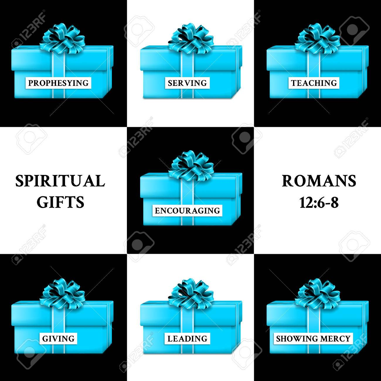 Gifts representing the gifts of the Holy Spirit. - 83406358