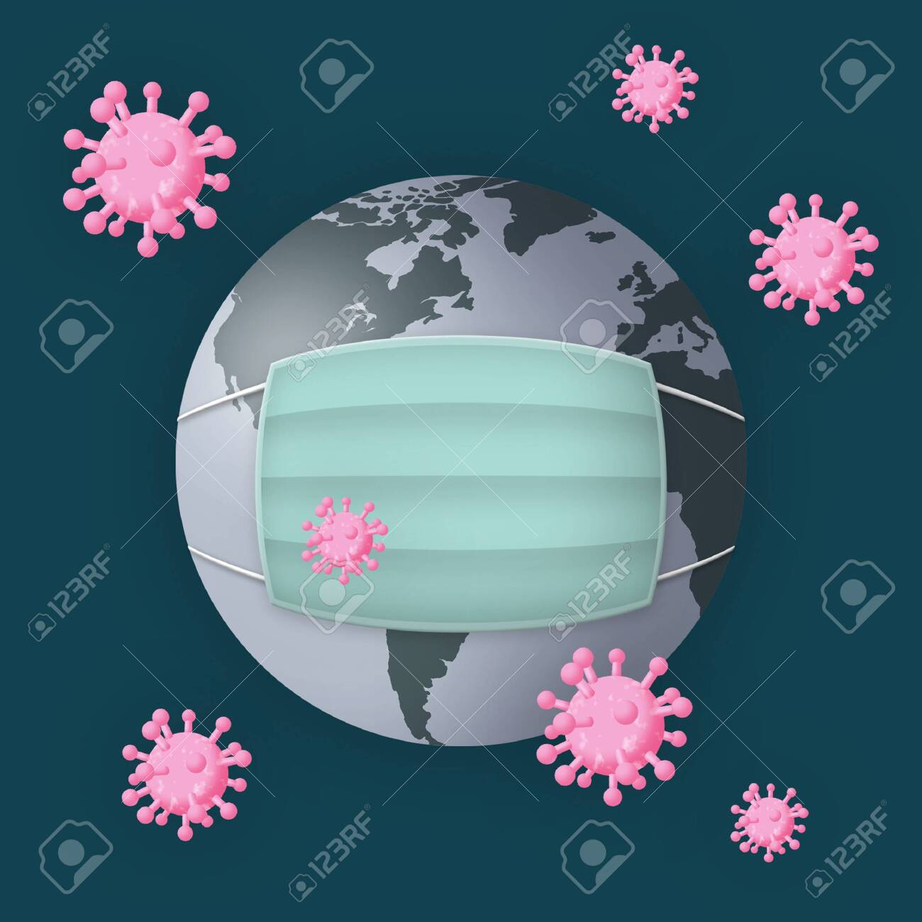 Planet Earth with facemask surrounded by viruses. - 144594569