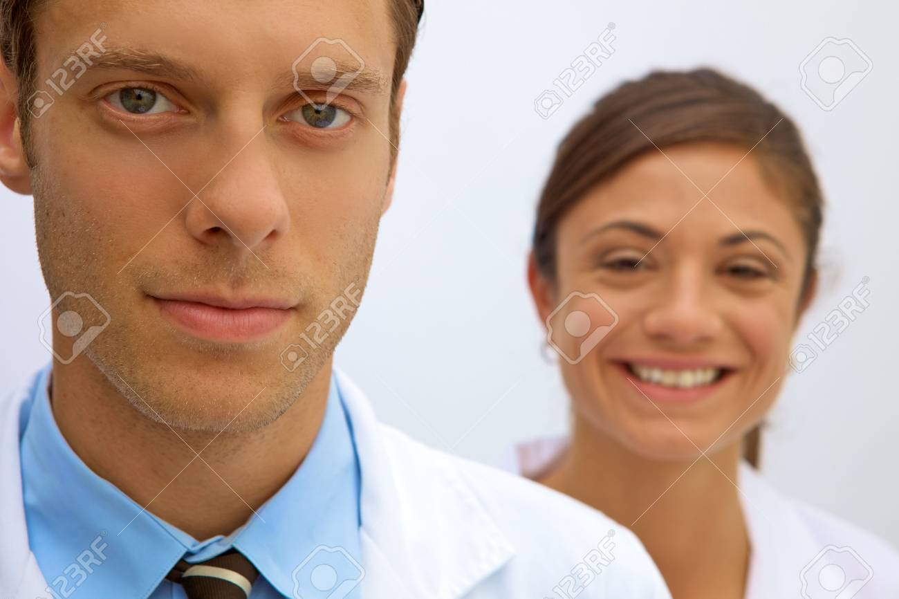 A female and male scientist working in a lab Stock Photo - 5559230