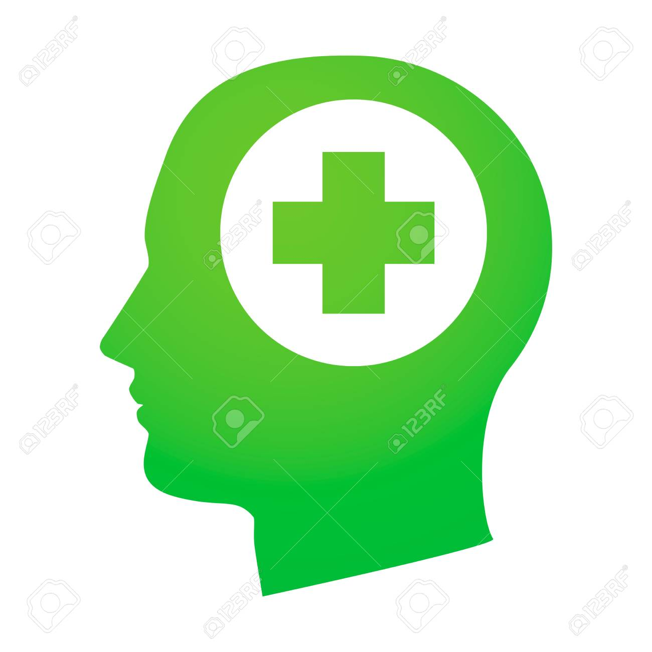 Illustration of an isolated head with an icon Stock Vector - 25434110