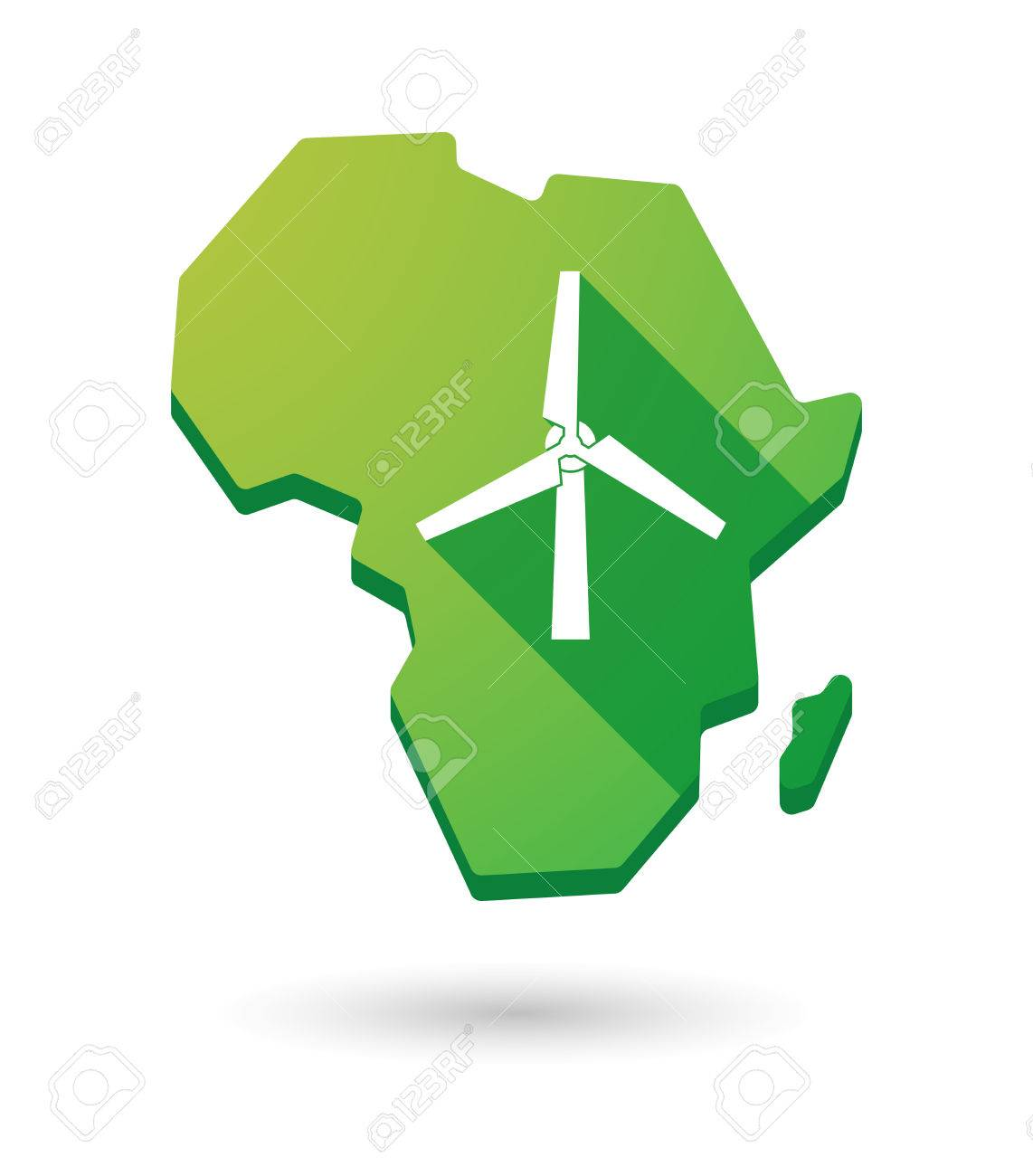 isolated africa continent map icon with a wind generator royalty