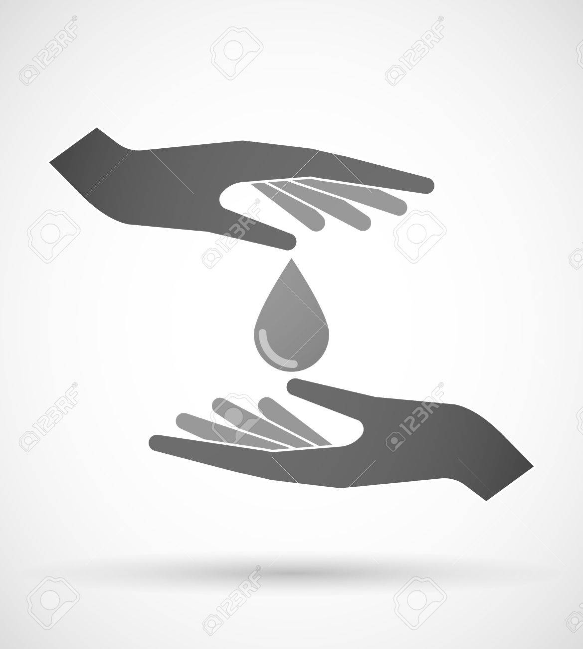Two Hands Protecting Or Giving A Blood Drop Royalty Free Cliparts