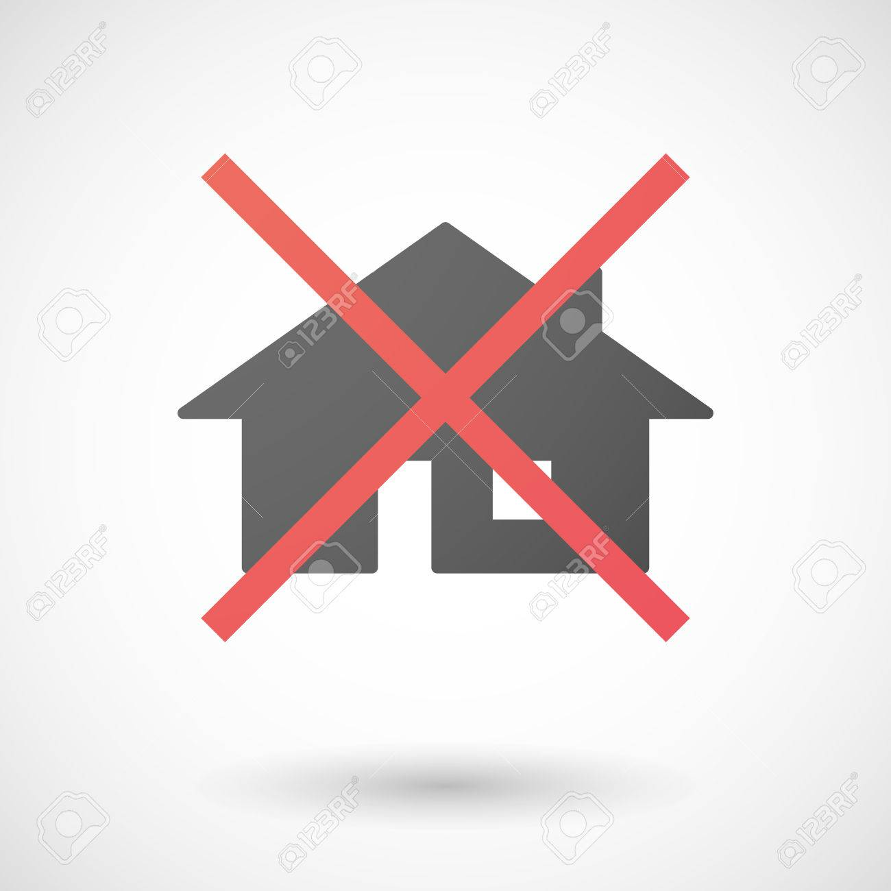 Fabulous Illustration Of A Not Allowed Icon With A House Beutiful Home Inspiration Xortanetmahrainfo