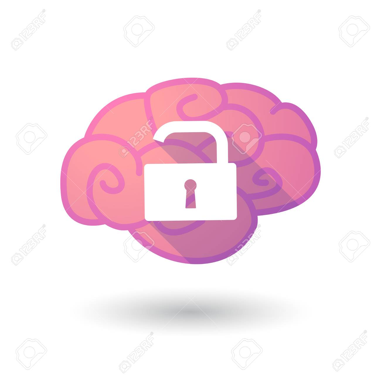 Ilustración De Un Cerebro De Color Rosa Con Una Almohadilla De ...