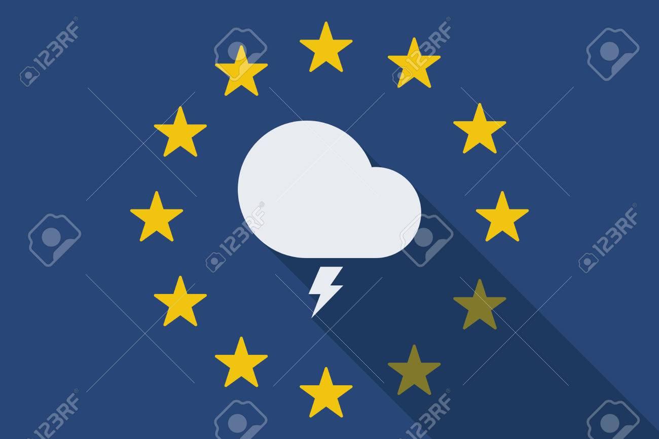 嵐の雲で欧州連合の長い影旗のイラストのイラスト素材ベクタ Image