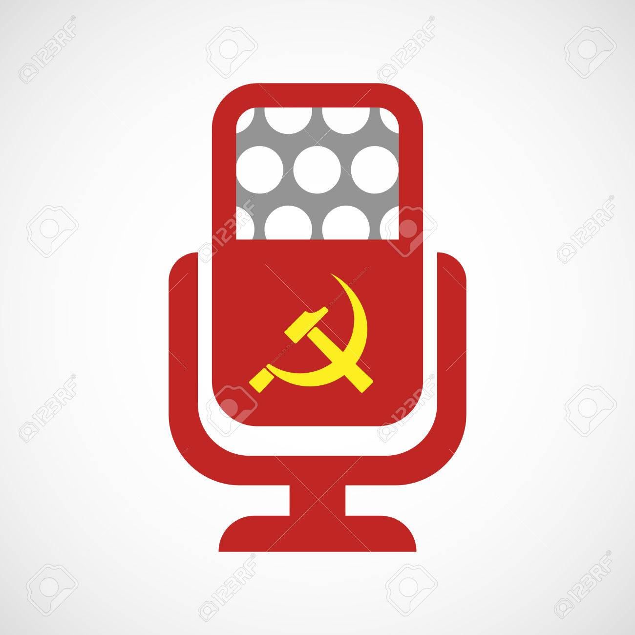 Illustration Of An Isolated Microphone Icon With The Communist