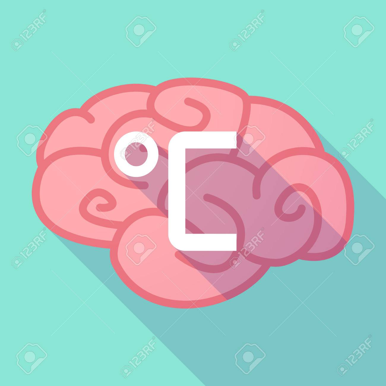 Illustration Of A Pink Long Shadow Brain With A Celsius Degree
