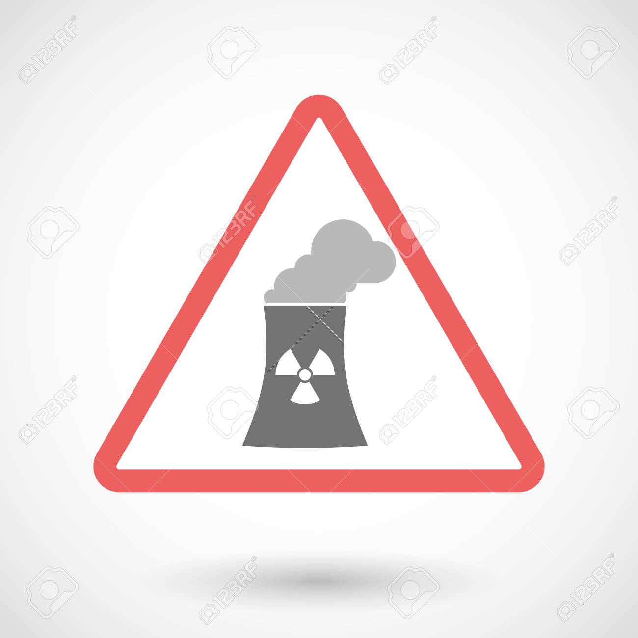 Illustration of a warning signal with a nuclear power station