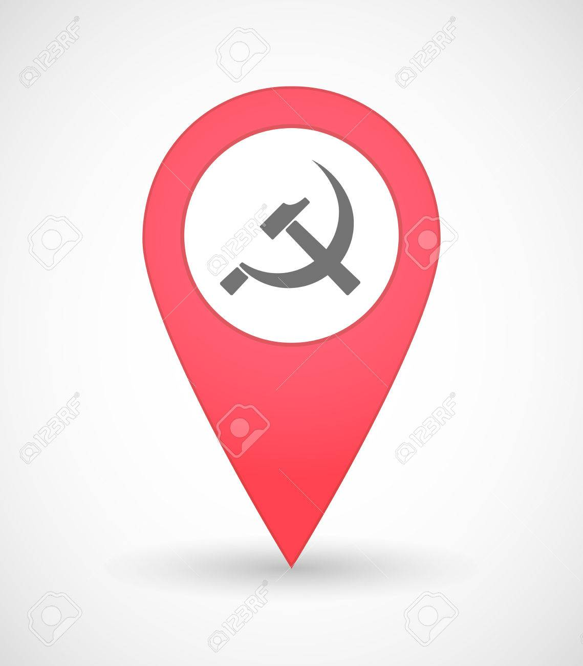 Illustration Of A Map Mark Icon With The Communist Symbol Royalty
