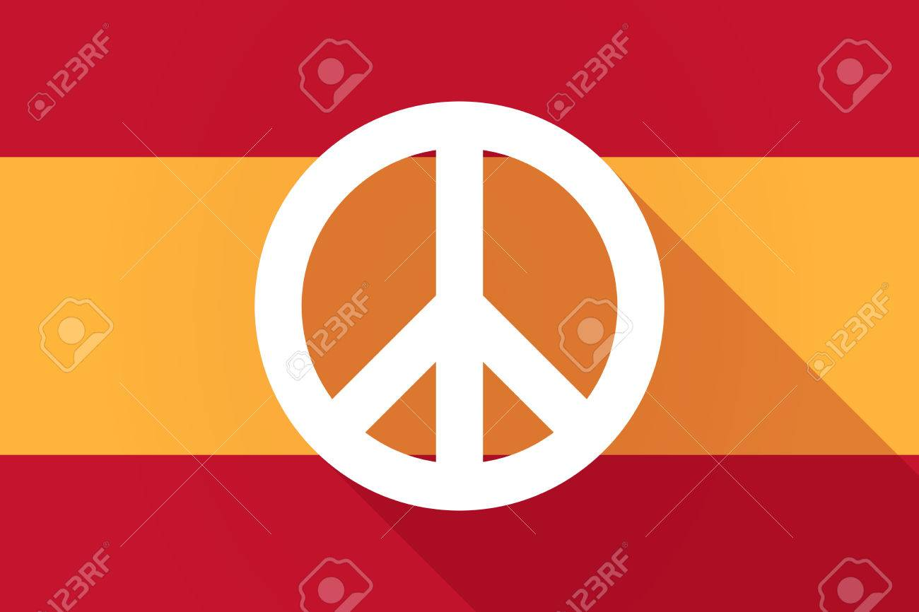 Illustration Of A Spain Long Shadow Flag With A Peace Sign Royalty