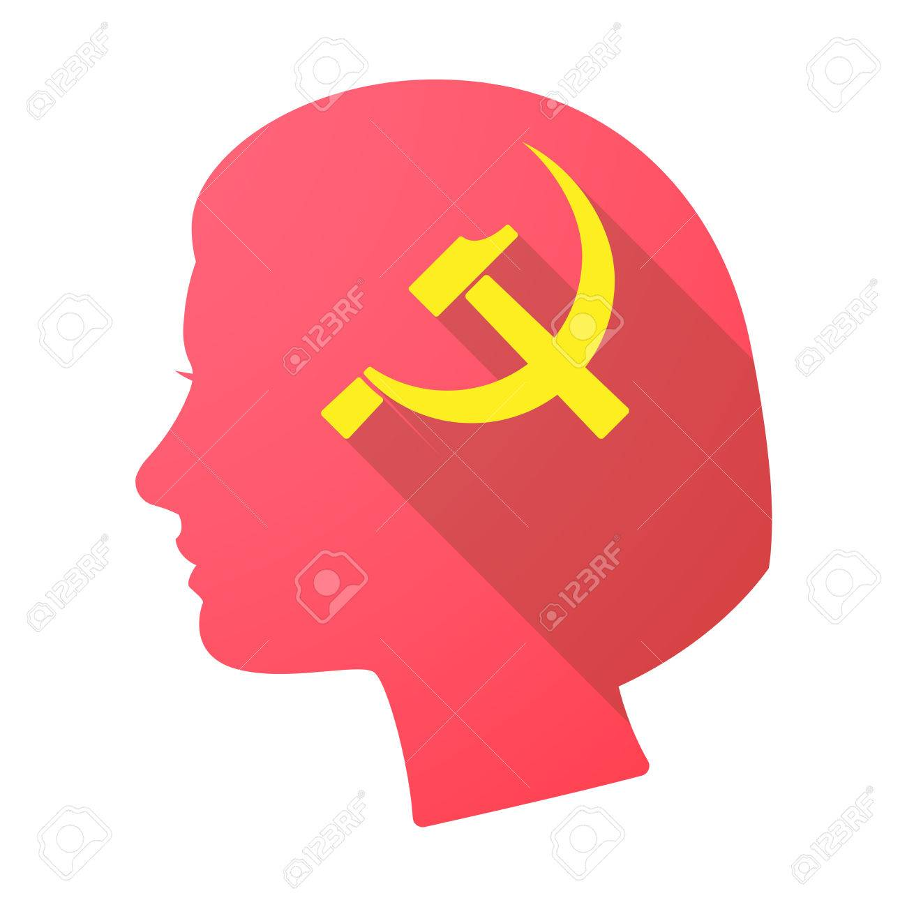 Illustration Of A Long Shadow Female Head With The Communist