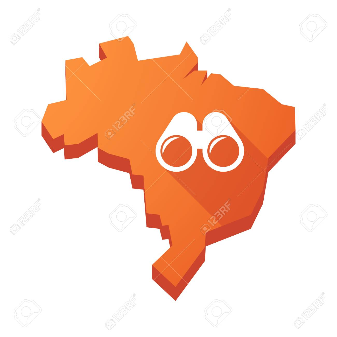 Illustration of an isolated vector Brazil map with a binoculars - 57834330