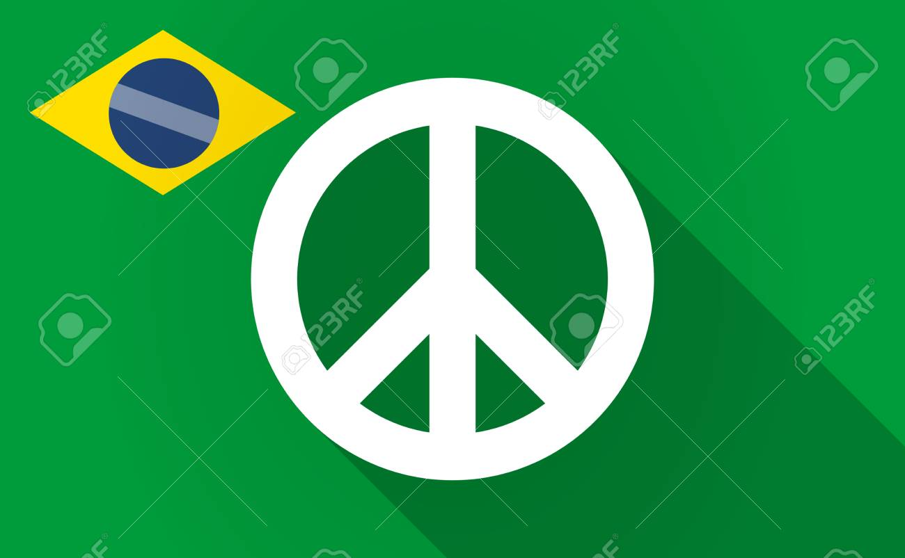 Illustration Of A Long Shadow Brazil Flag With A Peace Sign Royalty
