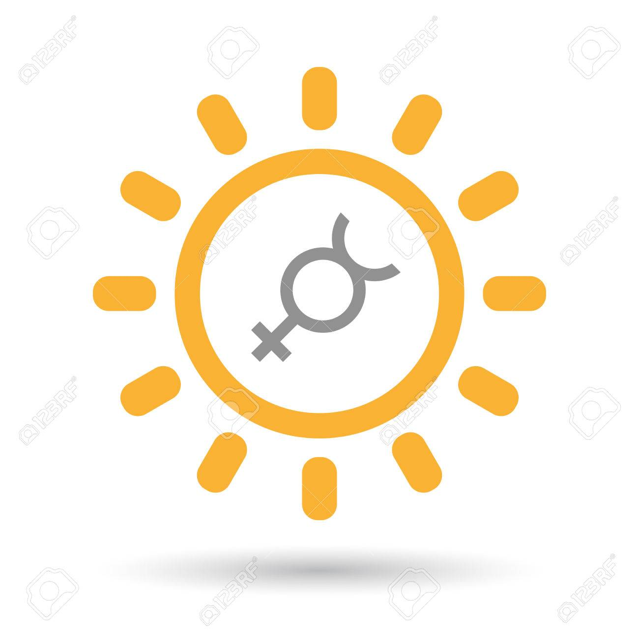 Illustration Of An Isolated Line Art Sun Icon With The Mercury