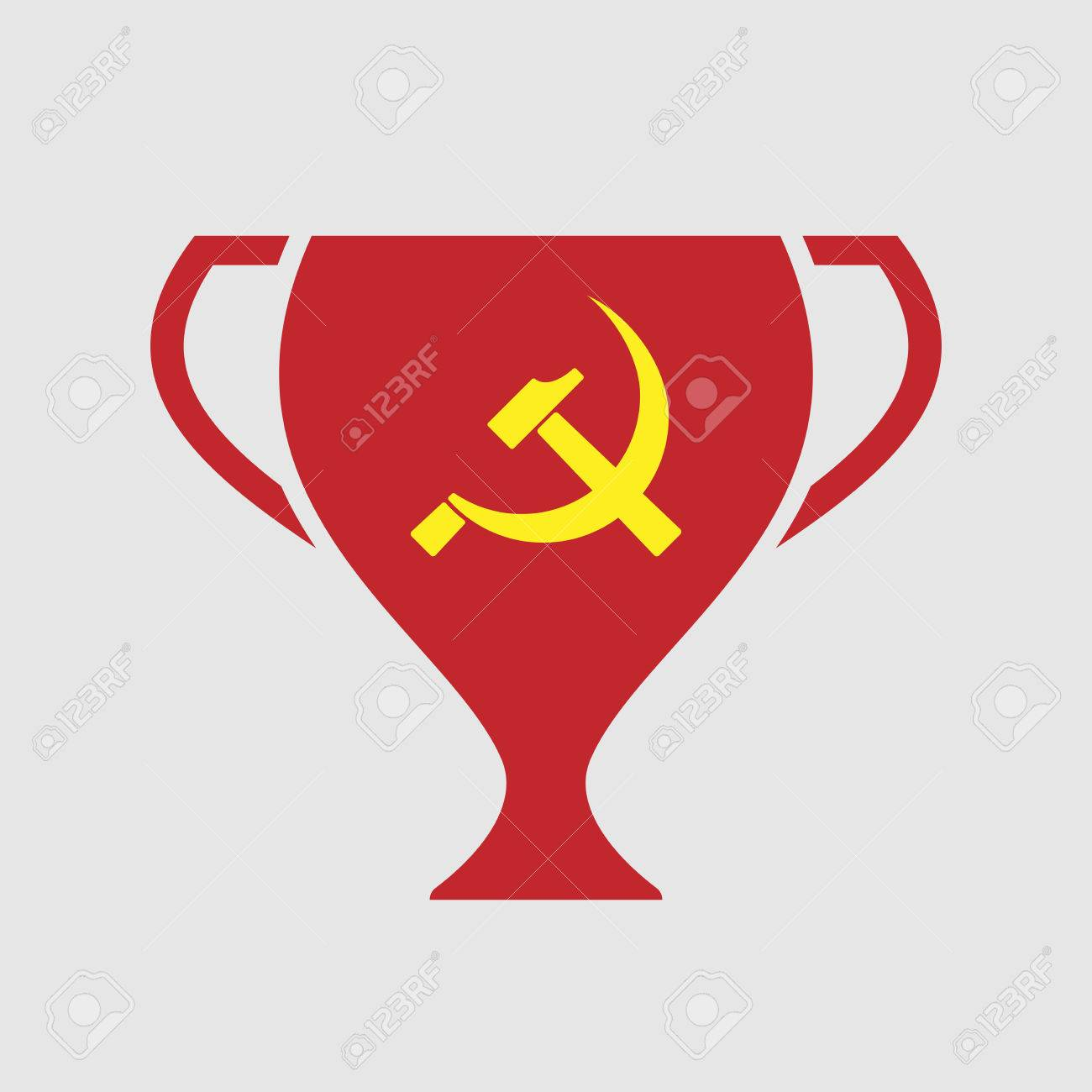 Illustration Of An Isolated Award Cup Icon With The Communist