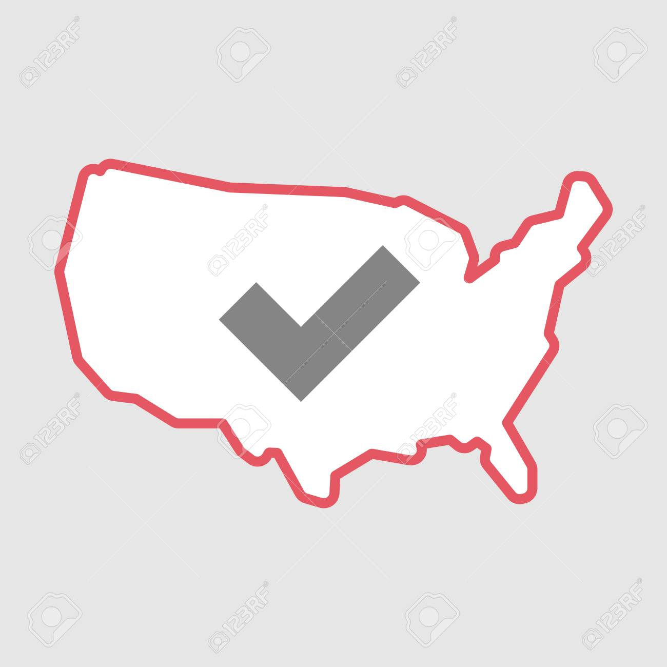 Illustration Of An Isolated Line Art Usa Map Icon With A Check