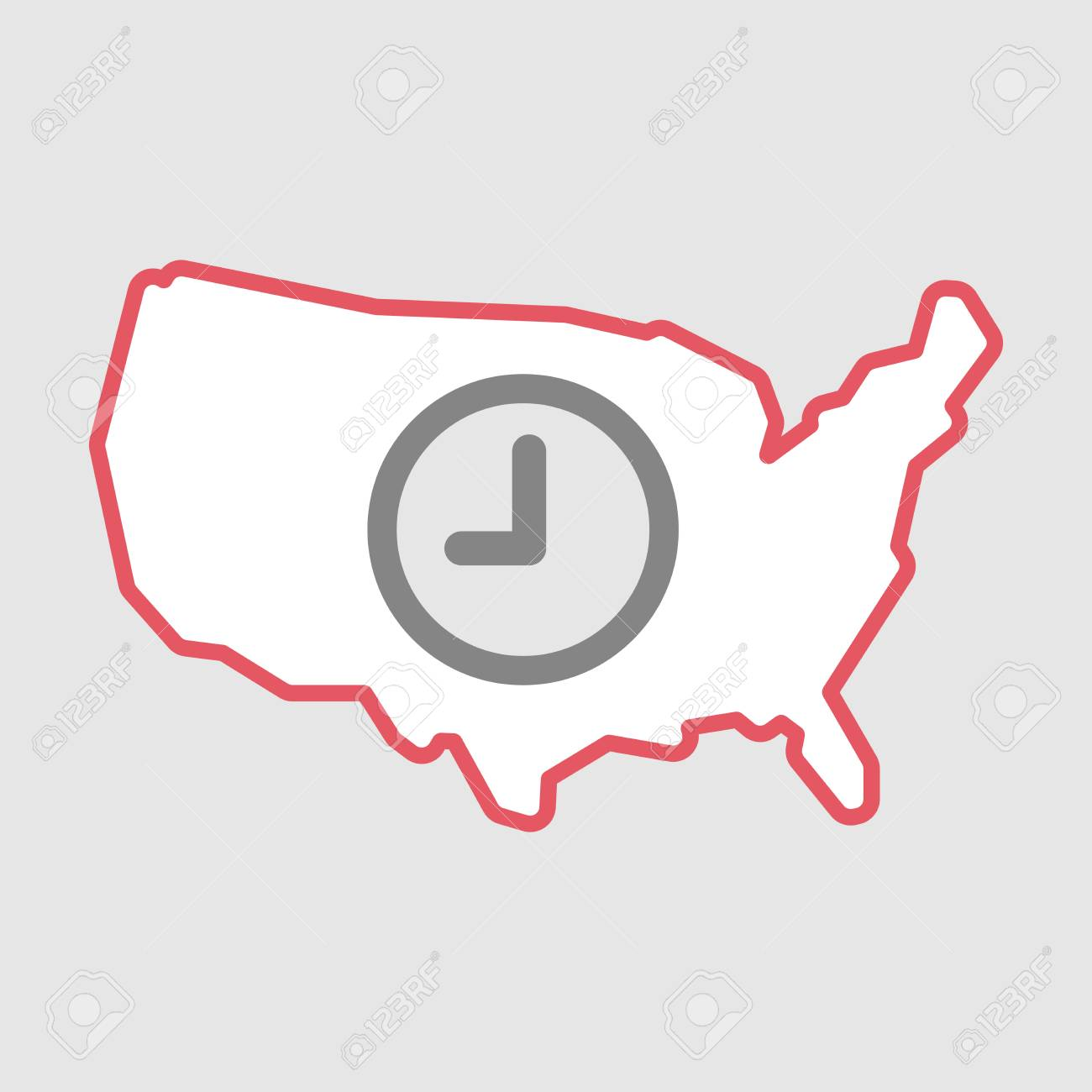 Illustration Of An Isolated Line Art Usa Map Icon With A Clock