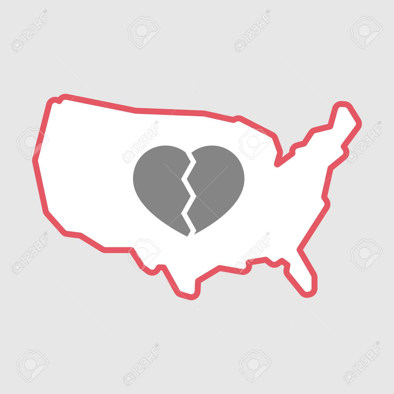 Illustration Of An Isolated Line Art Usa Map Icon With A Broken