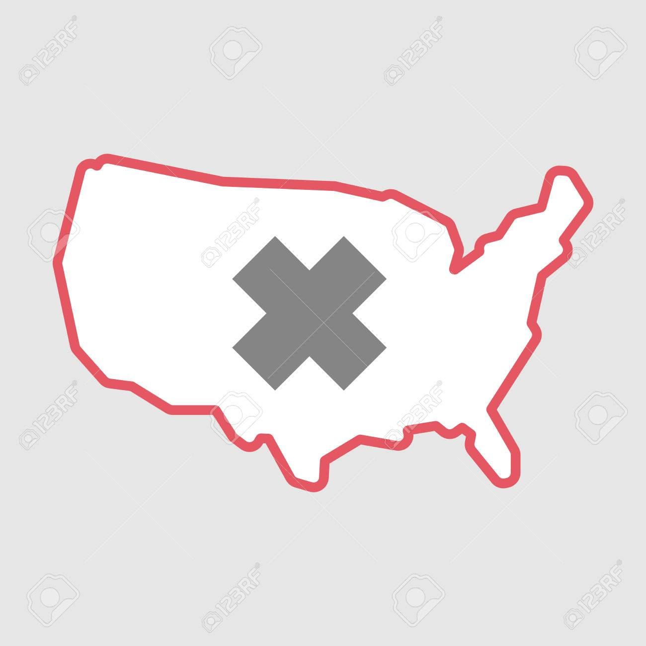 Illustration Of An Isolated Line Art Usa Map Icon With Cross