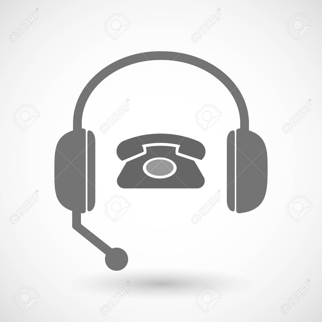 Illustration Of An Isolated Hands Free Headset Icon With A Retro Royalty Free Cliparts Vectors And Stock Illustration Image 62922706
