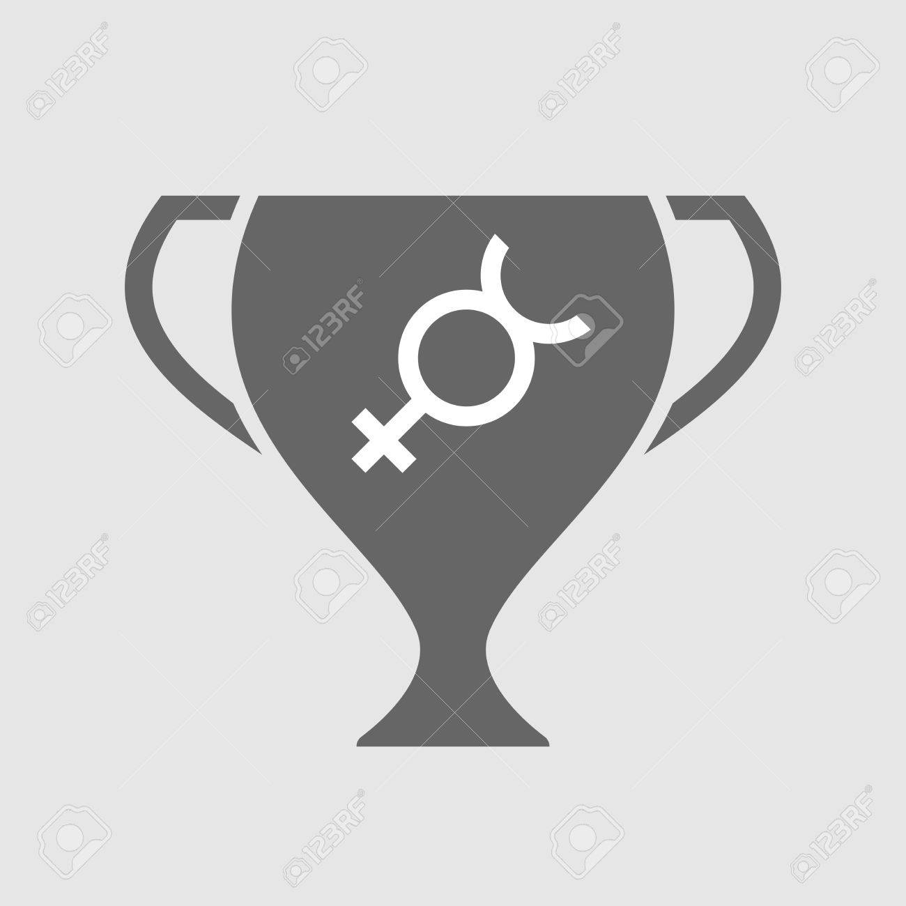 Illustration Of An Isolated Award Cup Vector Icon With The Mercury
