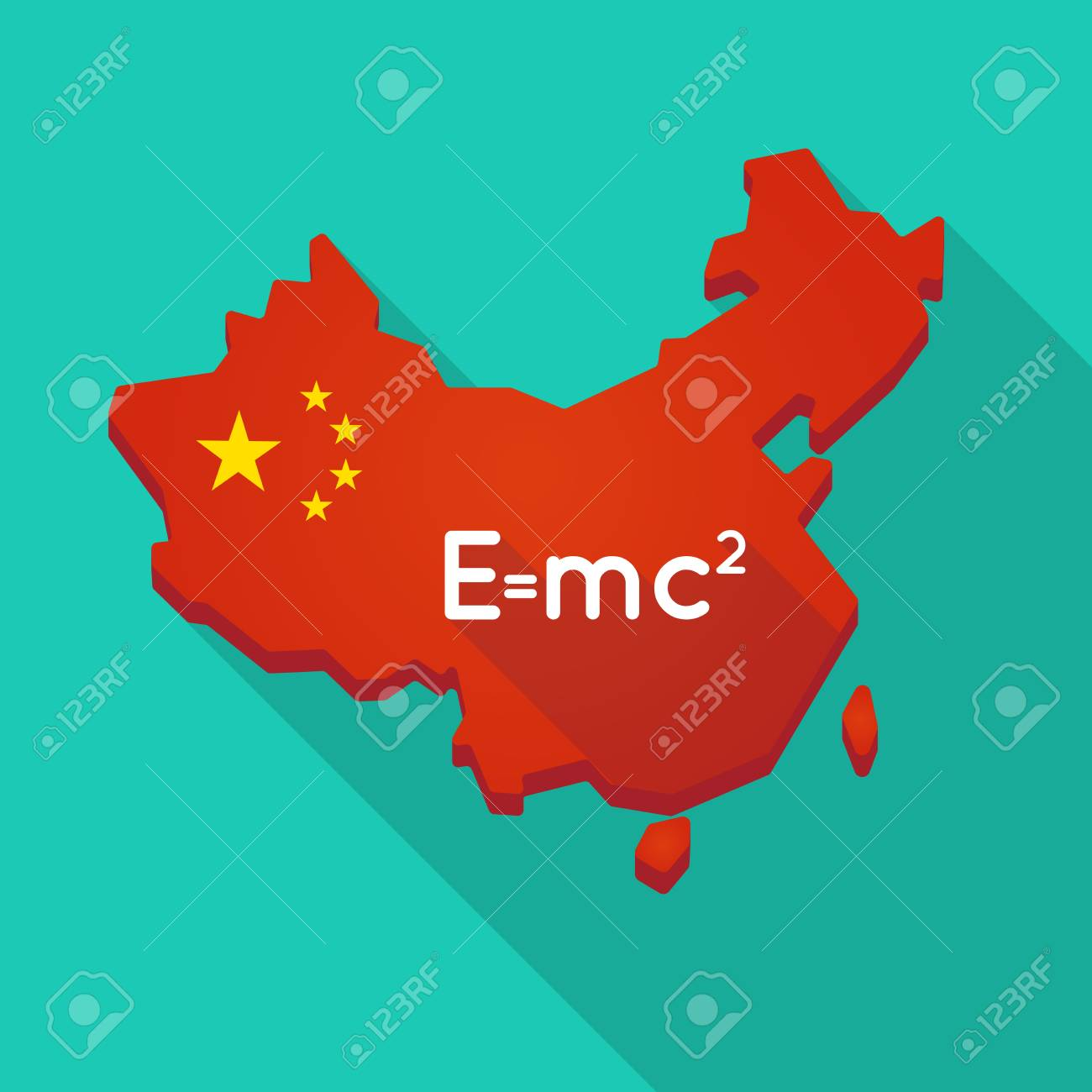 Illustration of a long shadow china map with the theory of illustration of a long shadow china map with the theory of relativity formula stock vector thecheapjerseys Images