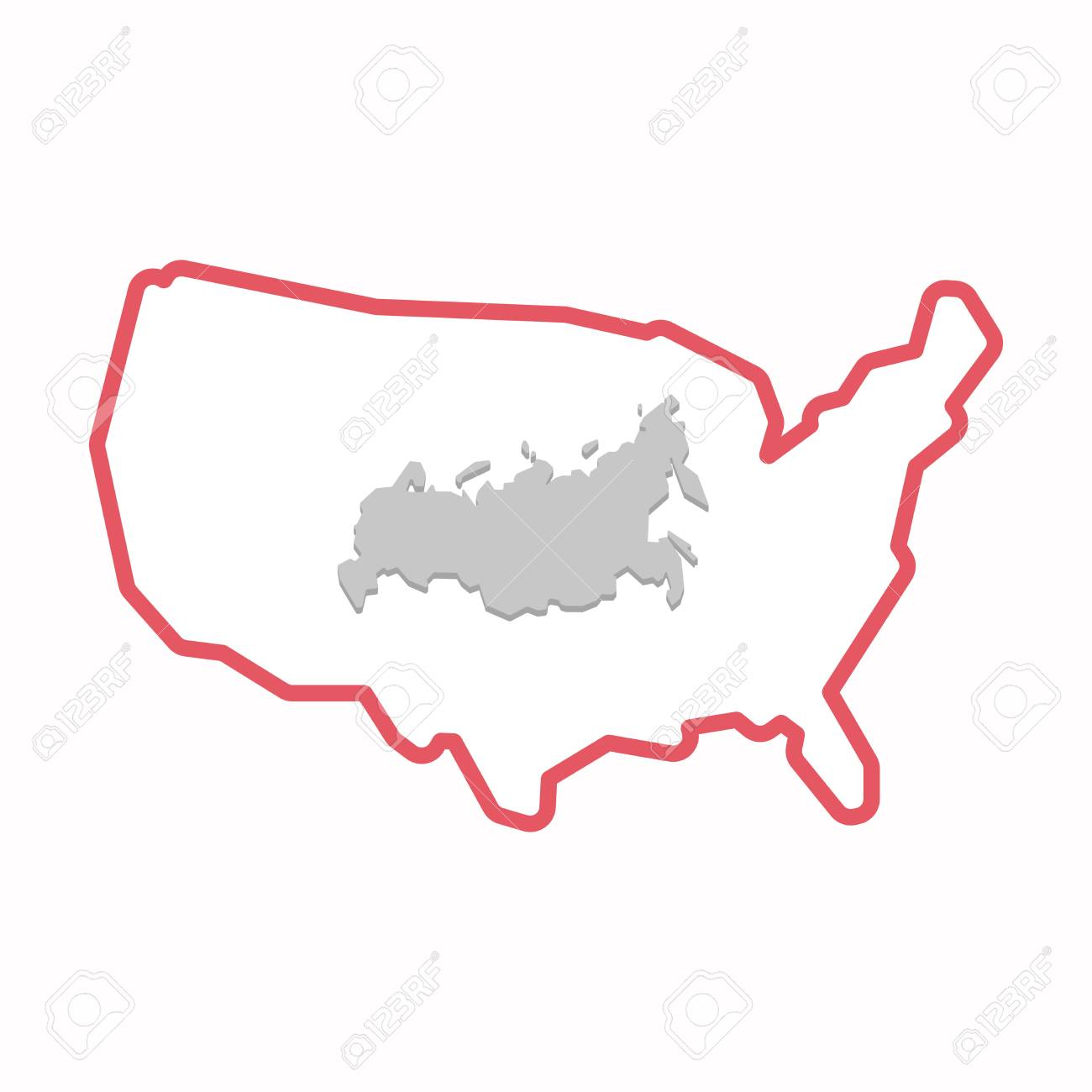 Usa And Russia Map.Illustration Of An Isolated Line Art Map Of Usa With A Map Of