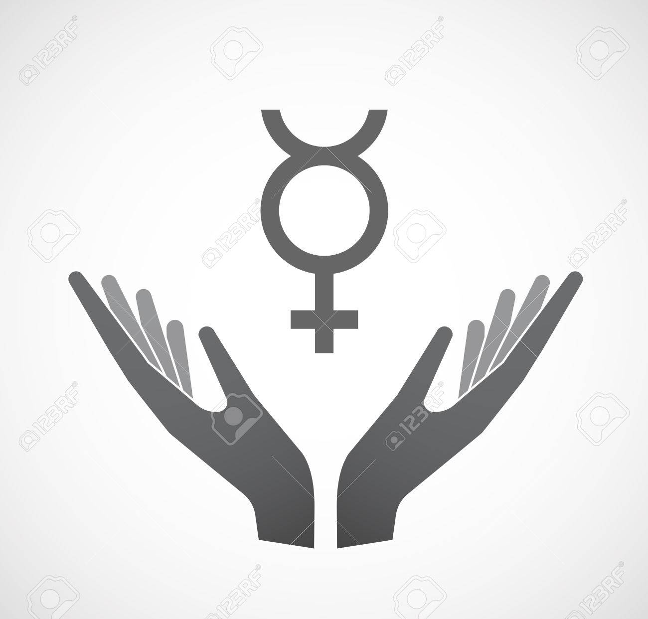 Illustration of an isolated hands offering sign with the mercury illustration of an isolated hands offering sign with the mercury planet symbol stock vector 67789774 buycottarizona Choice Image