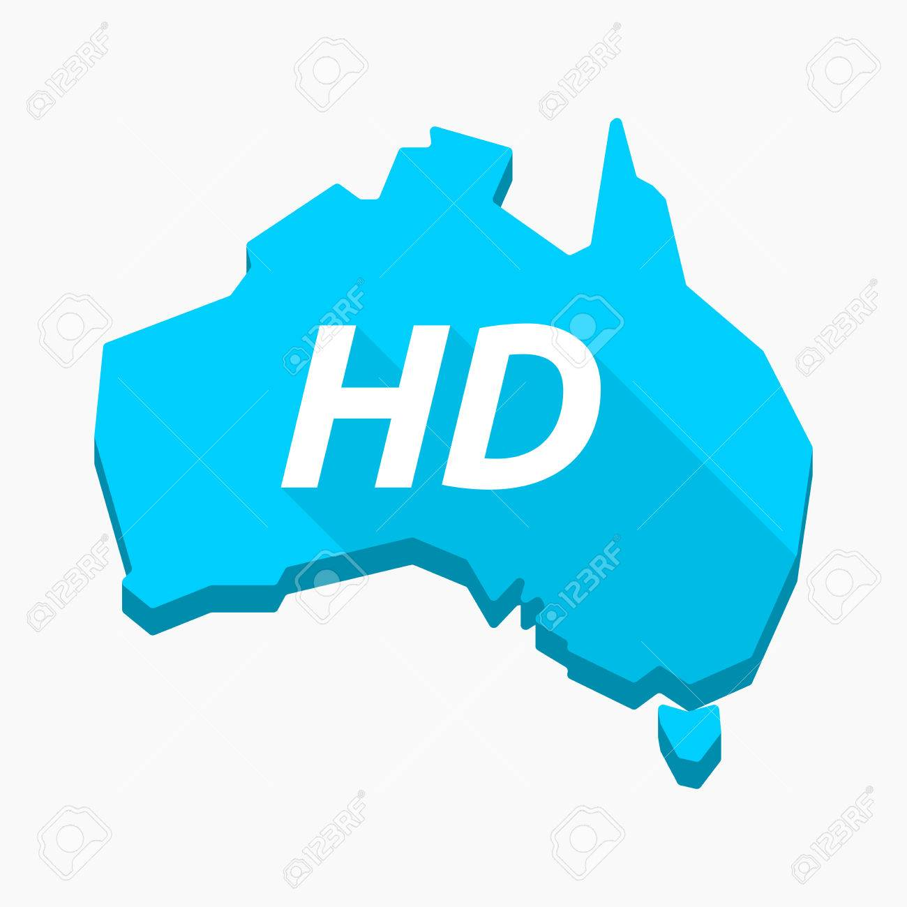 Illustration of an isolated long shadow Australia map with ..