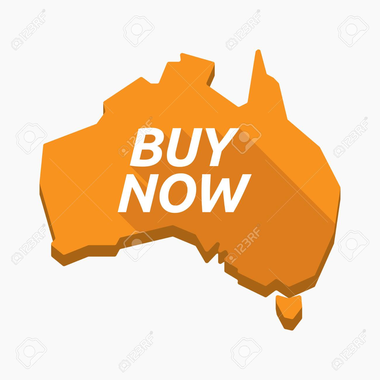 Buy Map Of Australia.Illustration Of An Isolated Long Shadow Australia Map With