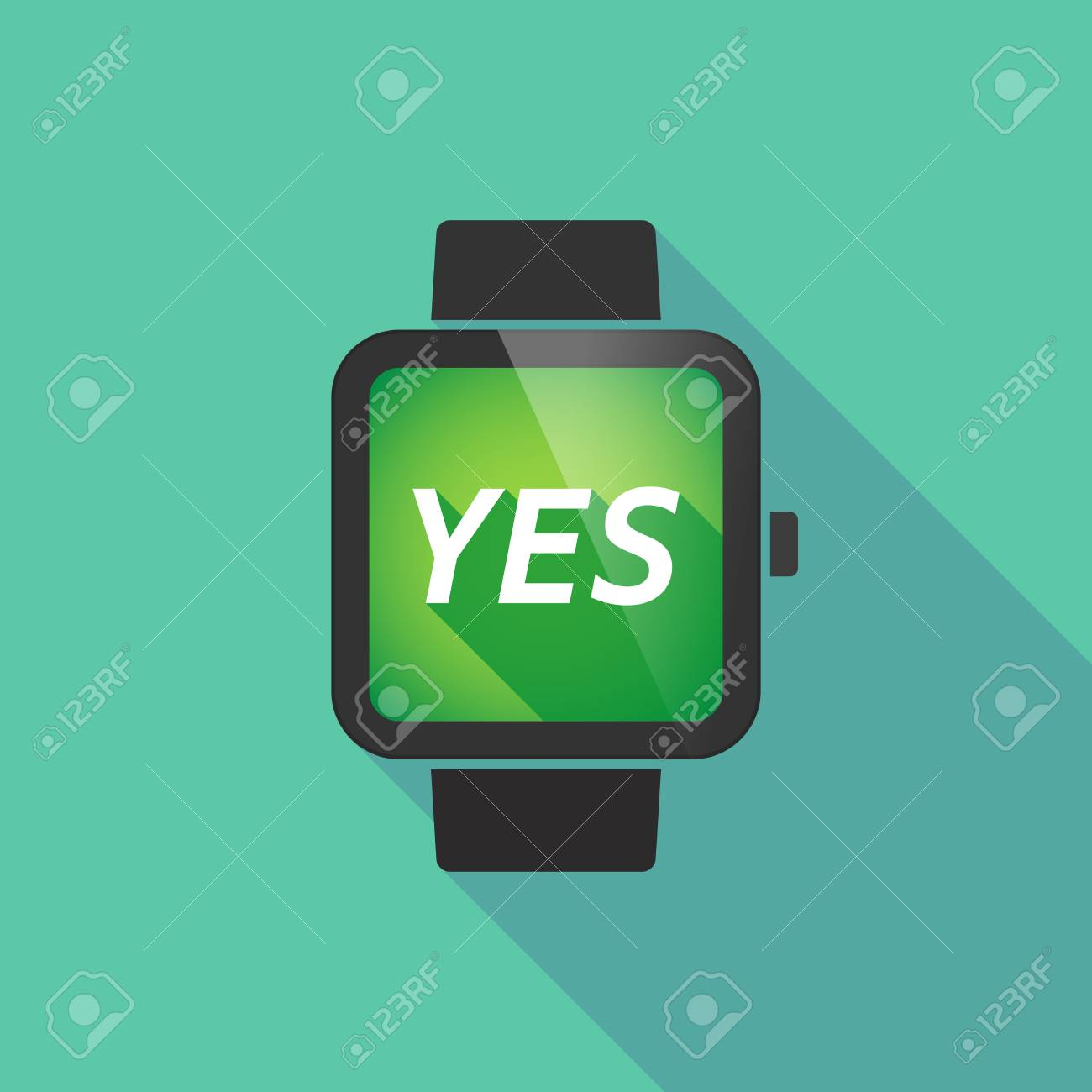 Illustration Of A Long Shadow Smart Watch With The Text Yes
