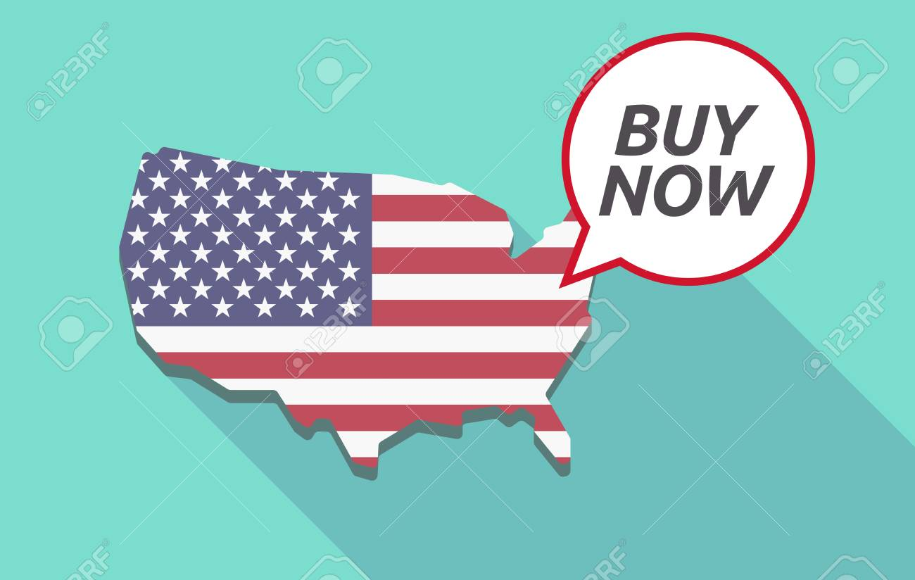 USA map with a comic balloon with the text BUY NOW