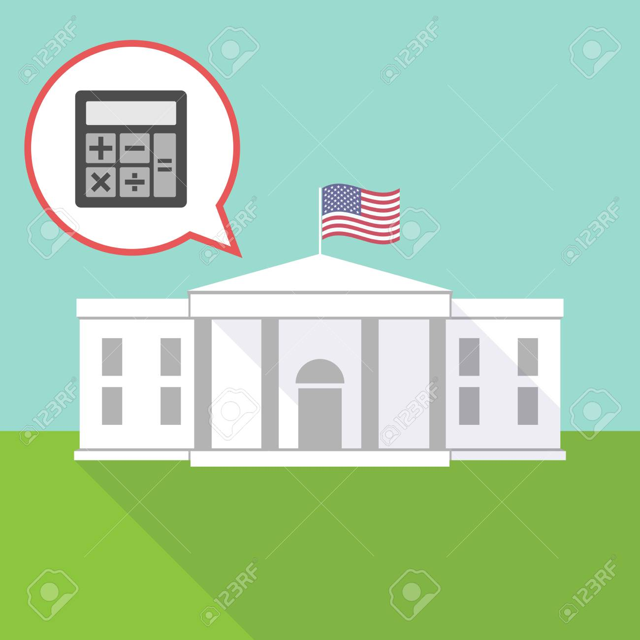 illustration of the white house with a comic balloon and a