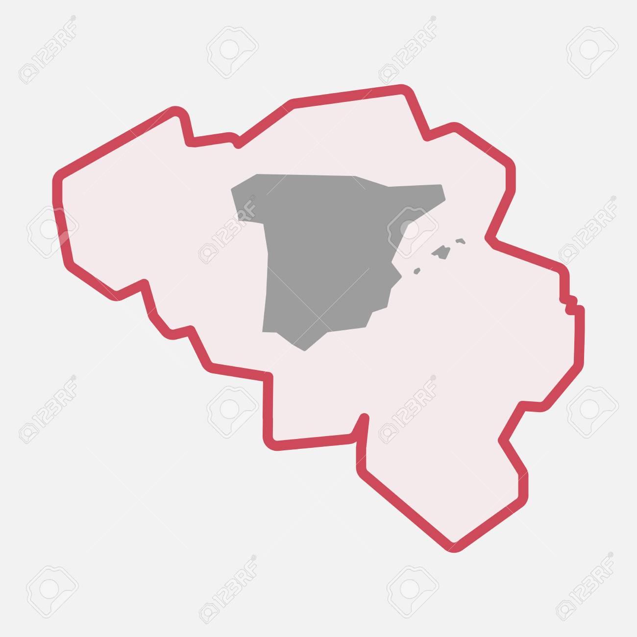 Carte Belgique Espagne.Illustration D Une Ligne Isolee Carte Belgique Belgique Avec La Carte D Espagne