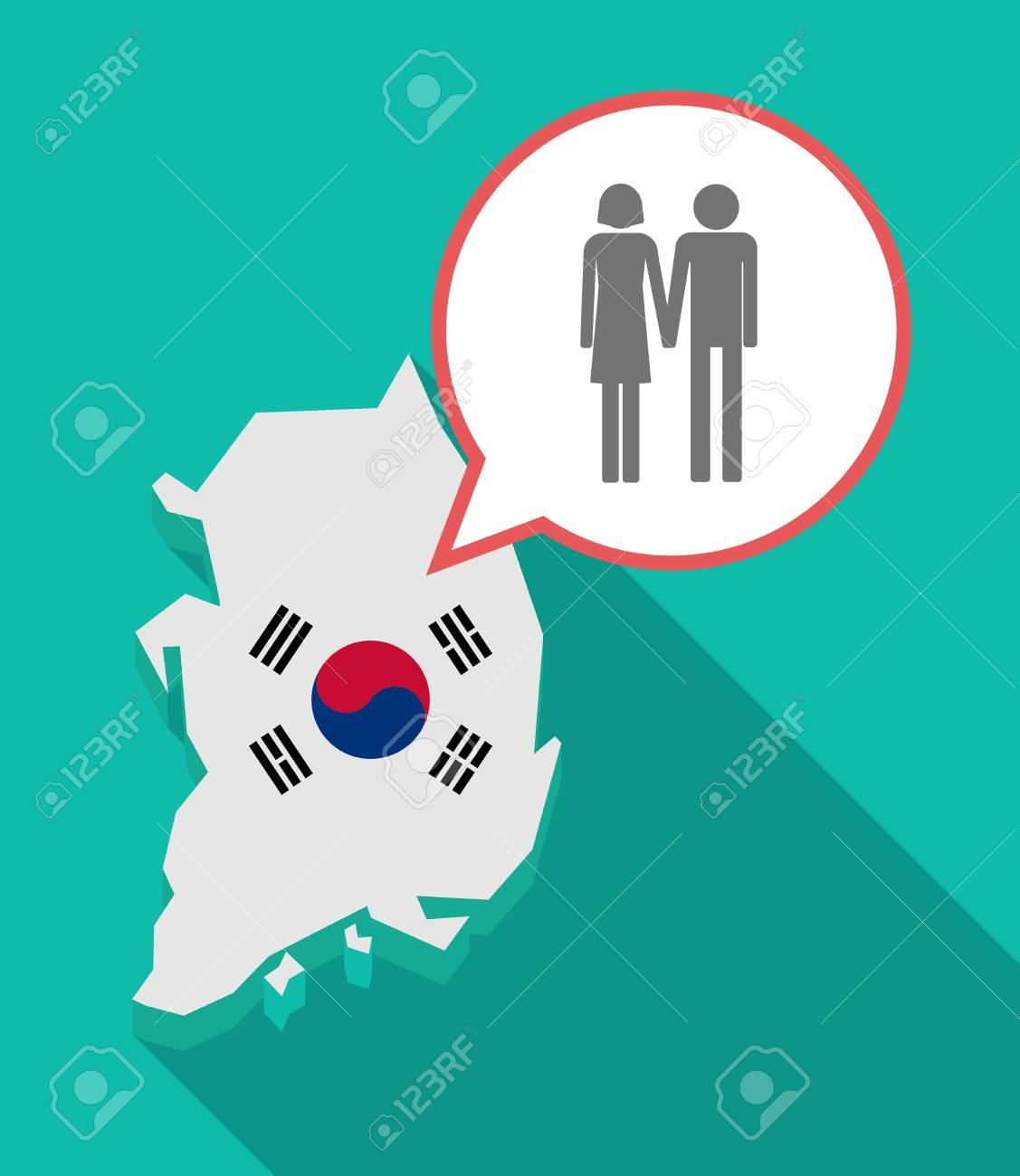 長い影韓国地図、彼の旗と異性カップル ピクトグラムと漫画風船の