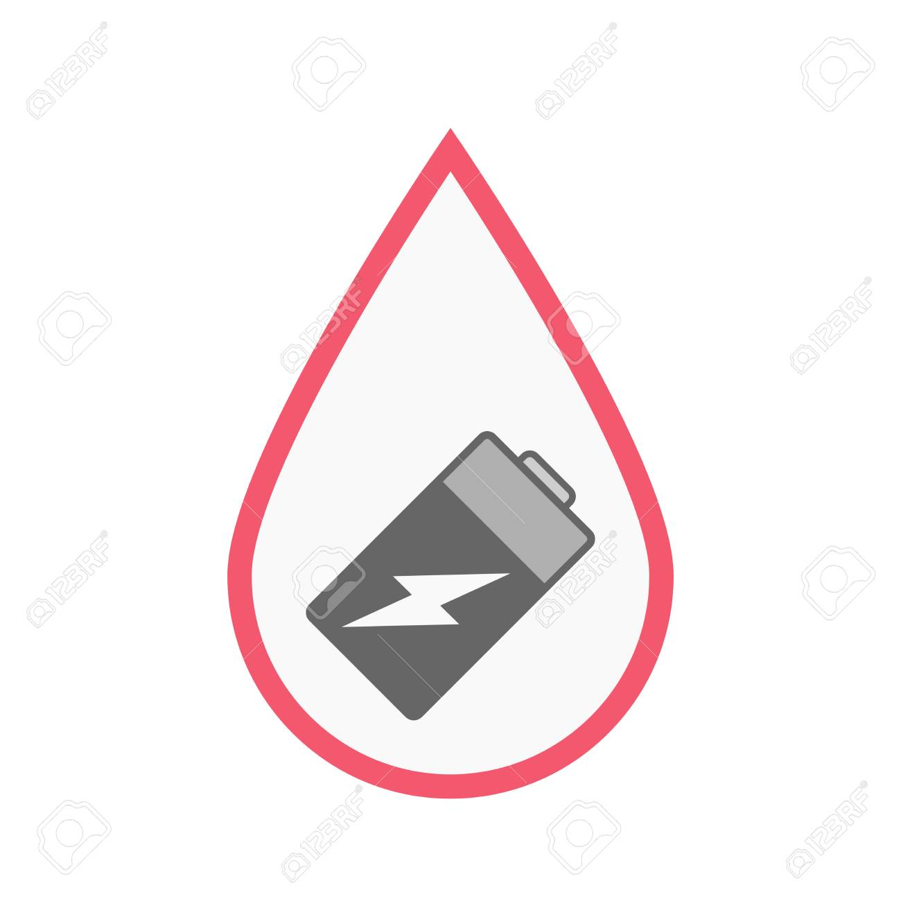 Illustration Of An Isolated Line Art Blood Drop With A Battery