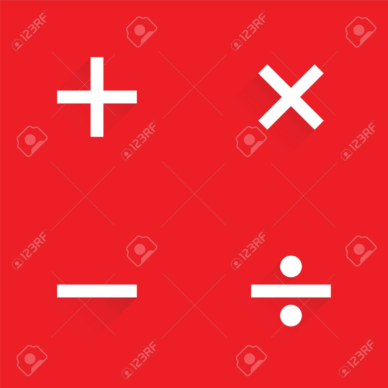 Basic Mathematical Symbols On Red Background Royalty Free Cliparts