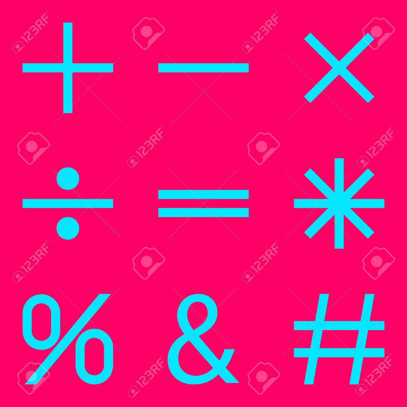 Basic Mathematical Symbols On Pink Background Vector Illustration